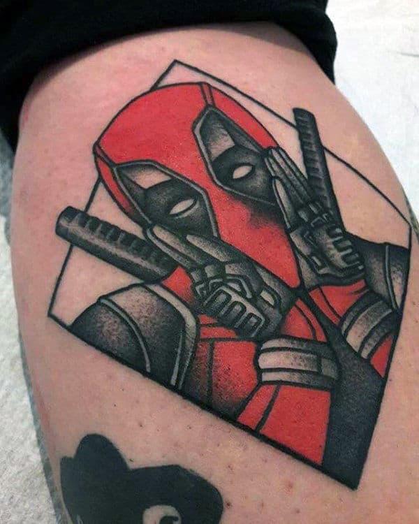 Small Simple Male Deadpool Arm Tattoo Ideas