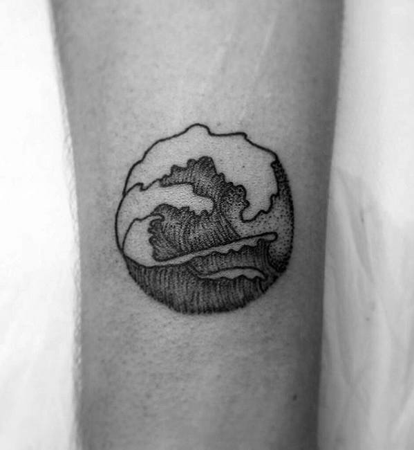 Small Simple Male Ocean Wave Black And Grey Forearm Tattoo