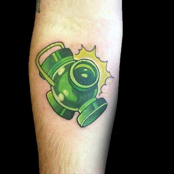 Small Simple Mens 3d Green Lantern Inner Forearm Tattoo