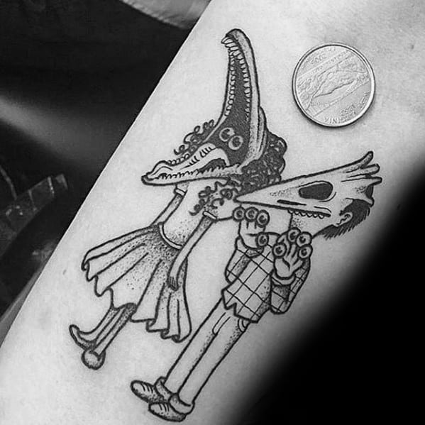 Small Simple Mens Beetlejuice Characters Inner Forearm Tattoo