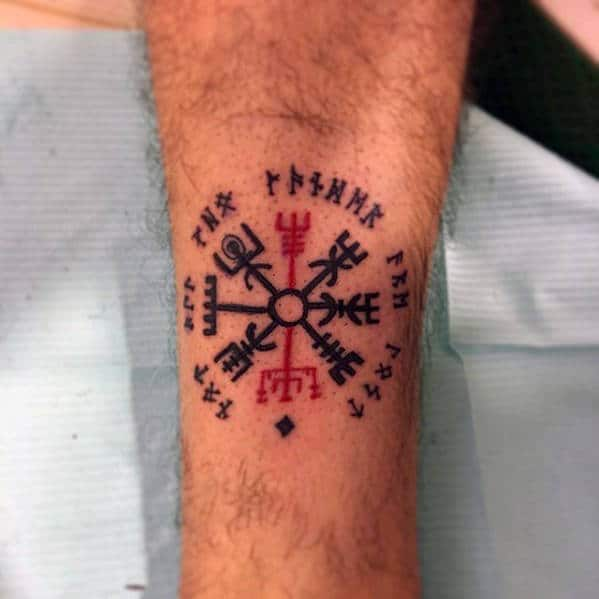 Small Simple Mens Black And Red Ink Viking Compass Tattoo On Leg