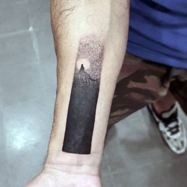 Small Simple Mens Blackwork Inner Forearm Wrist Wolf Moon Tattoos