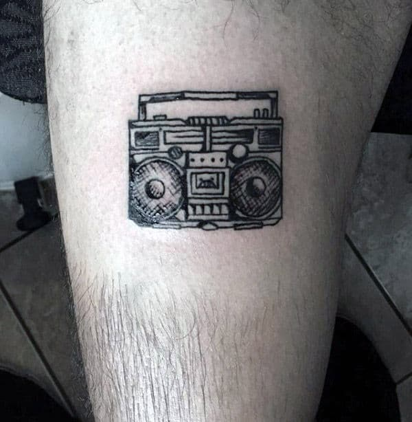 Small Simple Mens Boombox Leg Tattoo