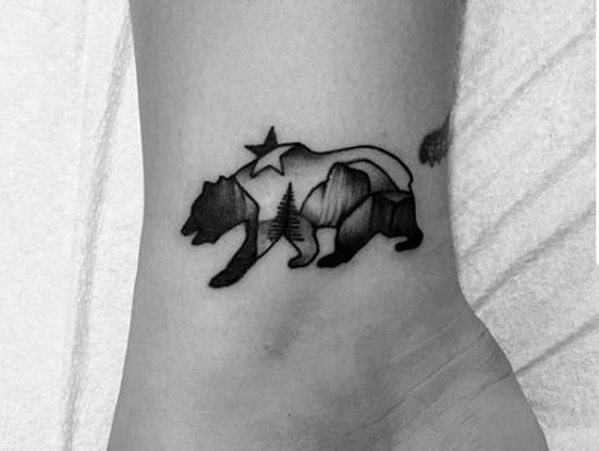 Small Simple Mens California Bear Lower Leg Tattoo
