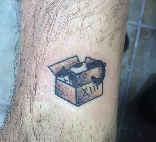 Small Simple Mens Cat Sleeping In A Box Tattoo Design Ideas