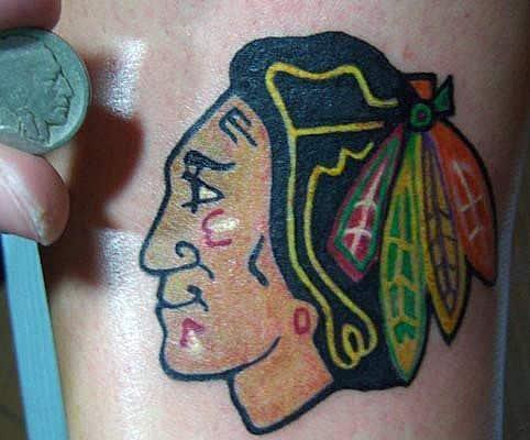 Small Simple Mens Chicago Blackhawks Tattoos