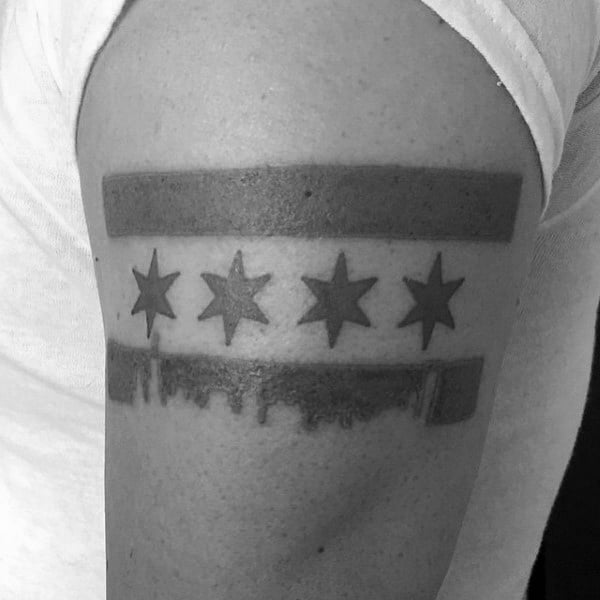 Small Simple Mens Chicago Negative Space Skyline Tattoo Designs