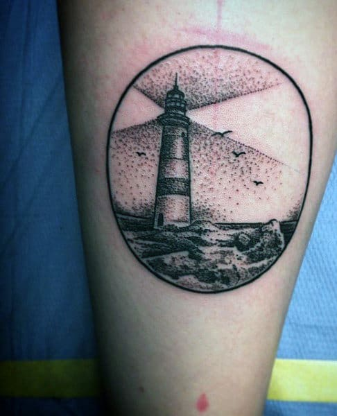 Small Simple Mens Circle Lighthouse Tattoos