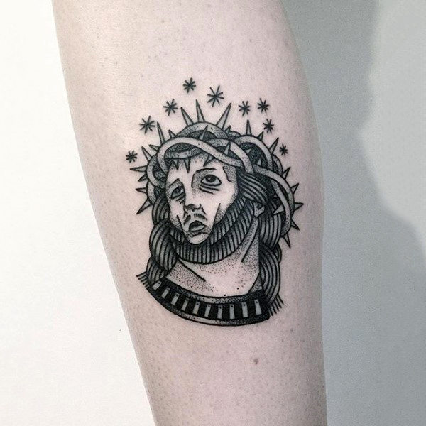 Small Simple Mens Creative Black Ink Jesus Inner Forearm Tattoo
