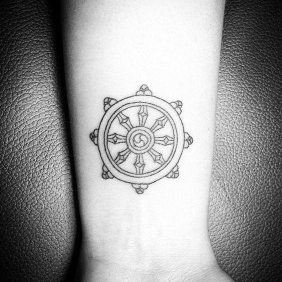 Small Simple Mens Dharma Wheel Wrist Tattoos