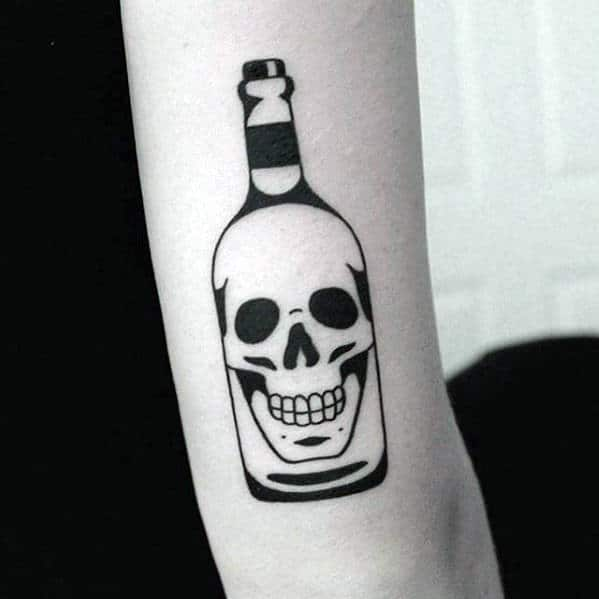 Small Simple Mens Different Skull Bottle Tattoo On Back Of Arm
