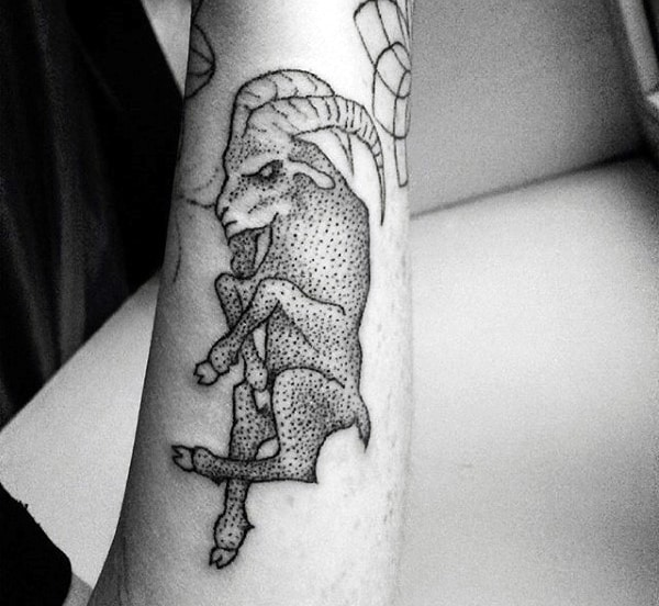Small Simple Mens Dotwork Goat Forearm Tattoos
