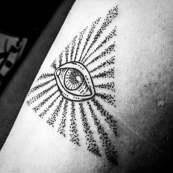 Small Simple Mens Eye Of Providence Dotwork Arm Tattoo Designs