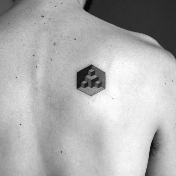 Small Simple Mens Factal Cube Back Tattoo Ideas