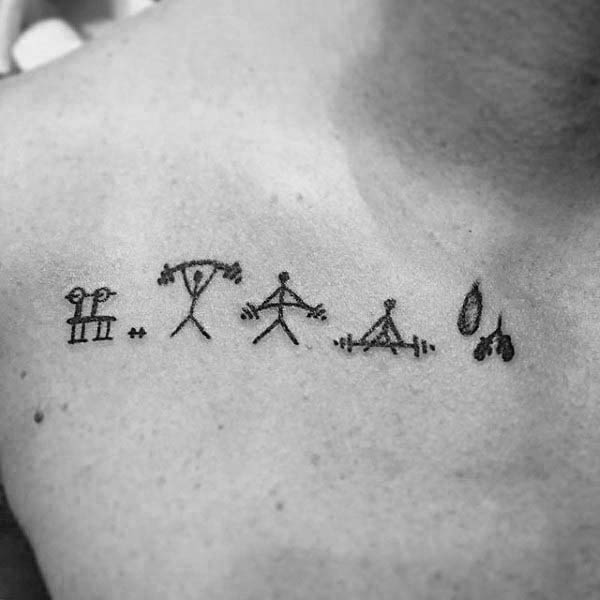 6d793efea Small Simple Mens Figure Lifting Tattoos On Collarbone. Stacked Dumbbells  Realistic Fitness Tattoo Ideas ...