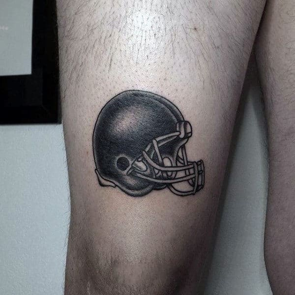 Small Simple Mens Football Helmet Tattoo Design On Thigh