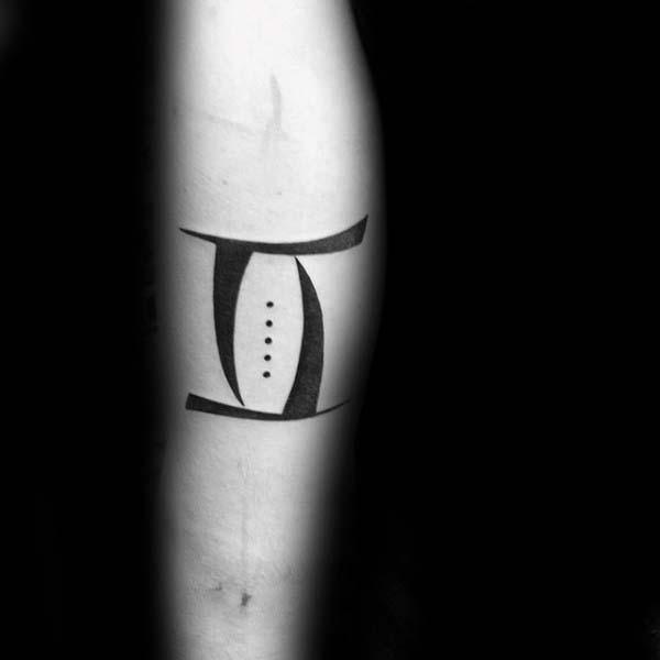 Small Simple Mens Forearm Gemini Black Ink Sign Tattoos