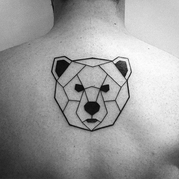 Small Simple Mens Geometric Bear Upper Back Tattoo
