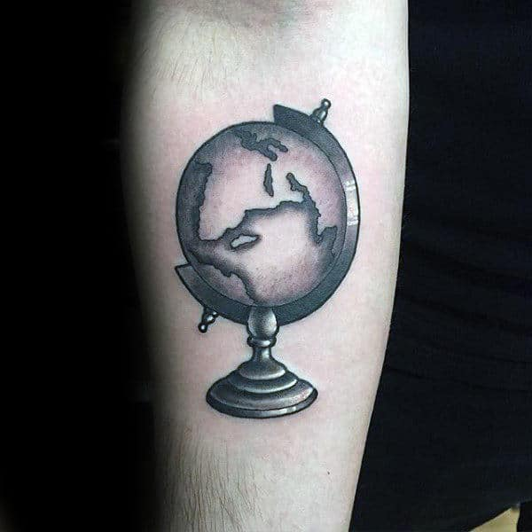 Small Simple Mens Globe Forearm Tattoo Ideas