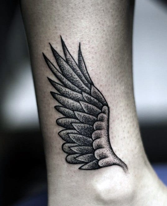 Small Simple Mens Hermes Wing Tattoo Above Ankle