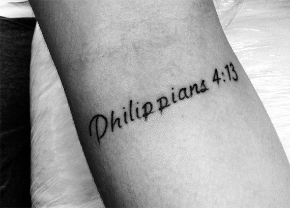Small Simple Mens Inner Forearm Philippians 4 13 Bible Tattoo Designs