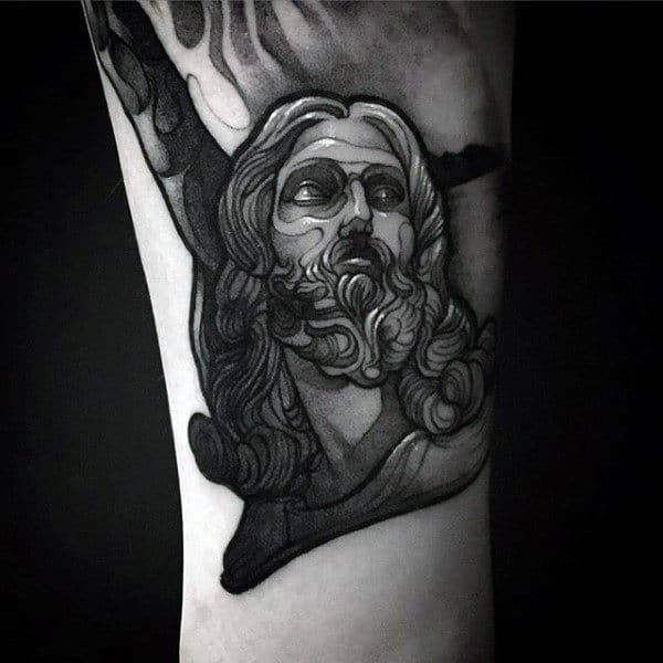 Small Simple Mens Jesus Arm Tattoo Ideas