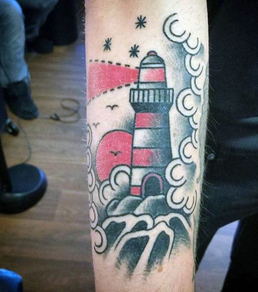 Small Simple Mens Lighthouse Tattoo In Red
