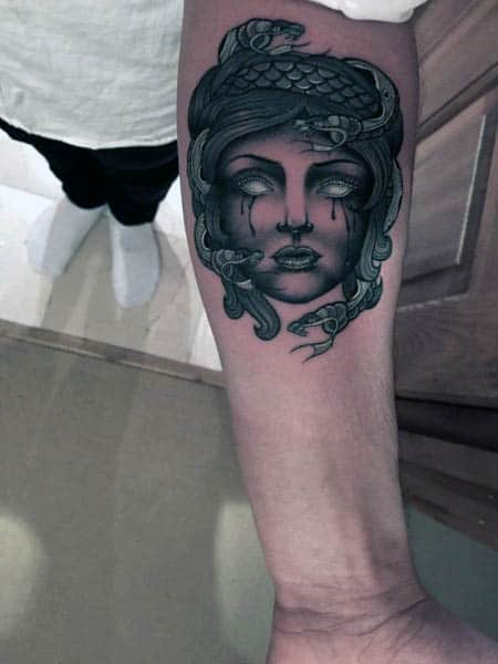 Small Simple Mens Medusa Tattoo On Inner Forearm