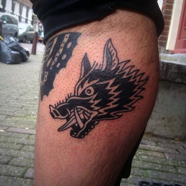 Small Simple Mens Old School Boar Leg Tattoo With Black Ink Design