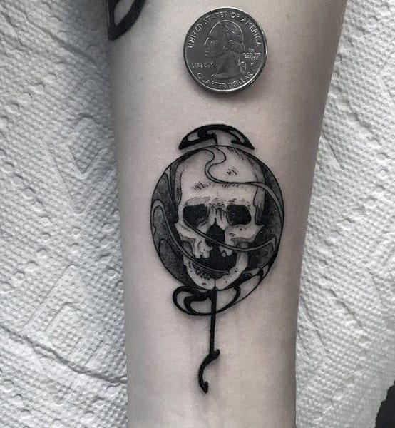 Small Simple Mens Original Skull Tattoo On Inner Forearm