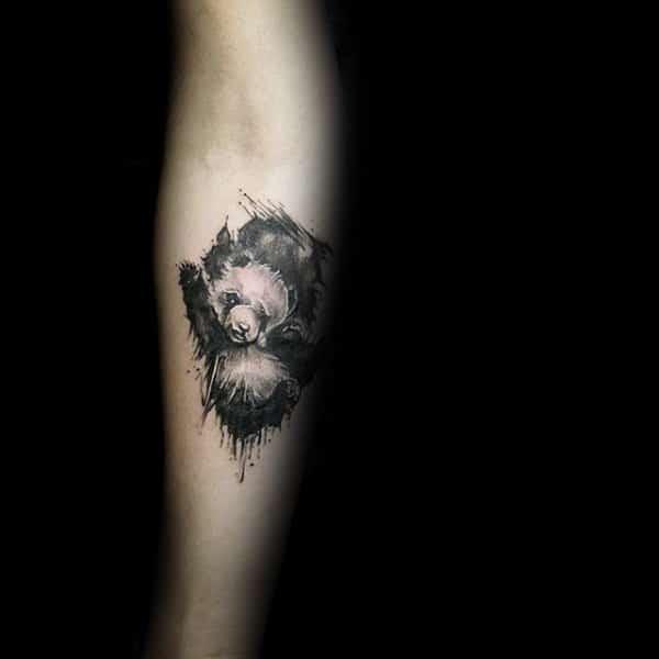 Small Simple Mens Panda Watercolor Tattoo Ideas