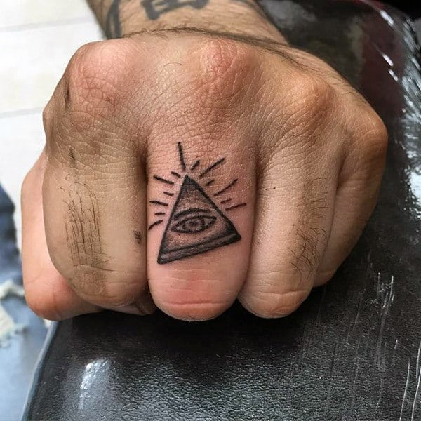 Small Simple Mens Pyramid Finger Tattoos