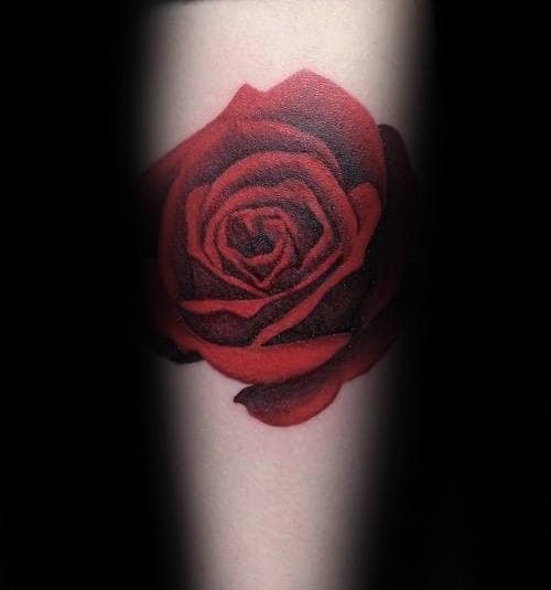 Small Simple Mens Realistic Red Rose Flower Forearm Tattoos