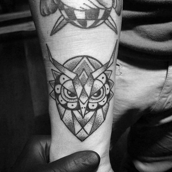 Small Simple Mens Shaded Geometric Owl Forearm Tattoo