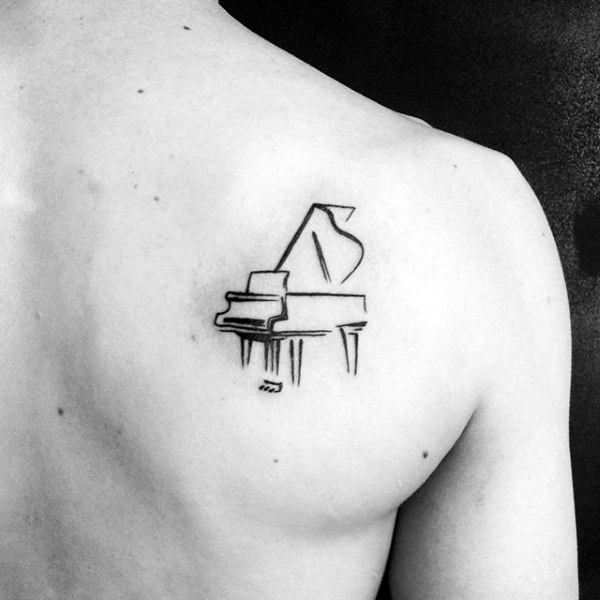Small Simple Mens Sketched Piano Shoulder Blade Tattoos
