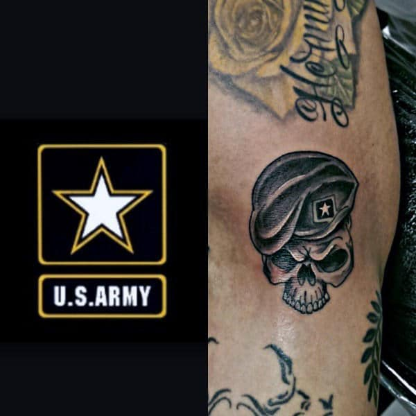 Small Simple Mens Skull Wearing Army Hat Tattoo
