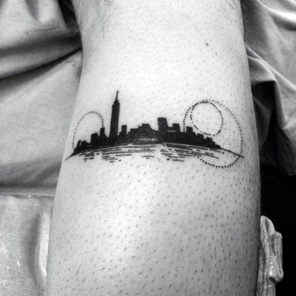 Small Simple Mens Skyline Forearm Tattoo Design Ideas