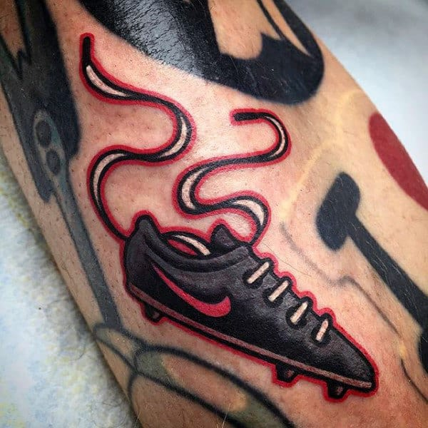 Small Simple Mens Soccer Shoes Tattoo On Arm