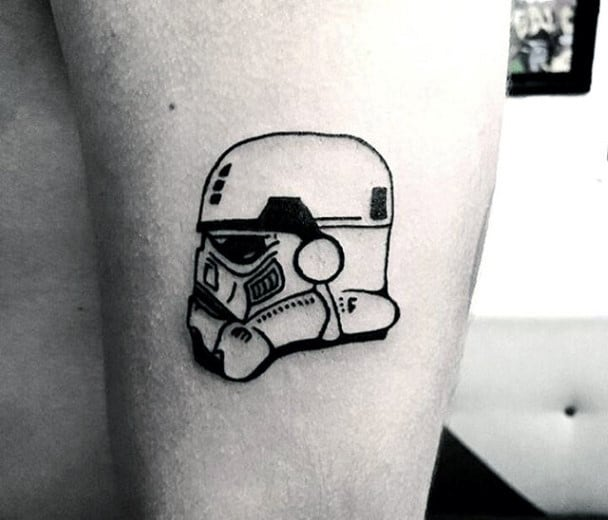 Small Simple Mens Stormtrooper Helmet Tattoo With Black Ink Outline