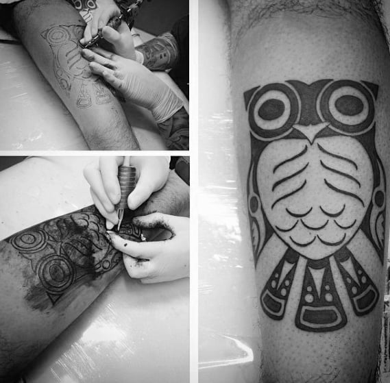 Small Simple Mens Tribal Owl Haida Tattoo Designs On Leg