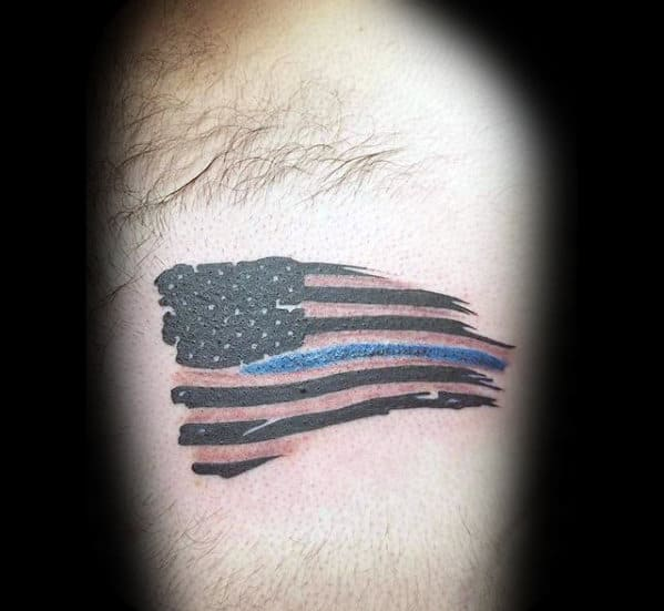Small Simple Mens Us Flag Thin Blue Line Arm Tattoo