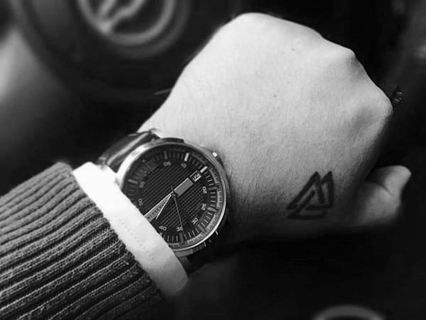 Small Simple Mens Valknut Design Tattoo Hand