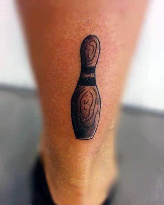 Small Simple Mens Wood Bowling Pin Tattoo On Lower Leg