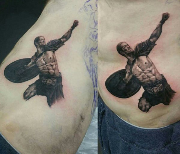 Small Simple Military Gladiator Tattoo On Men
