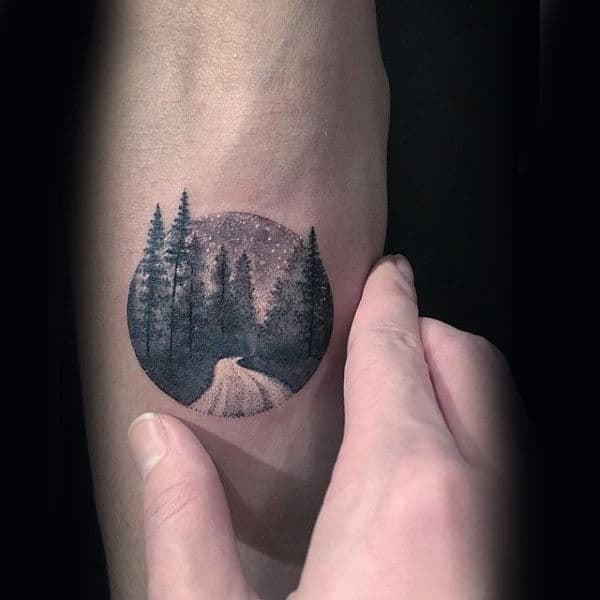 Small Simple Nature Tree Mens Inner Forearm Tattoo