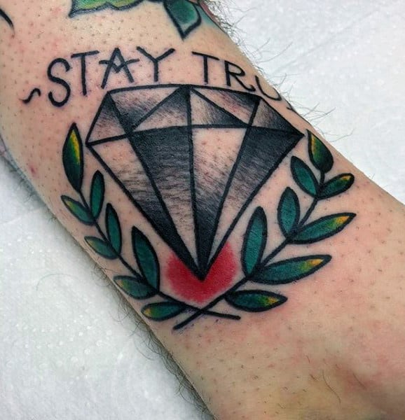 Small Simple Old School Male Stay True Diamond Tattoo With Olive Branches On Arm