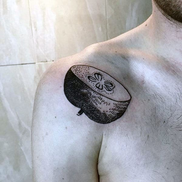 Small Simple Old School Shoulder Apple Tattoo For Men