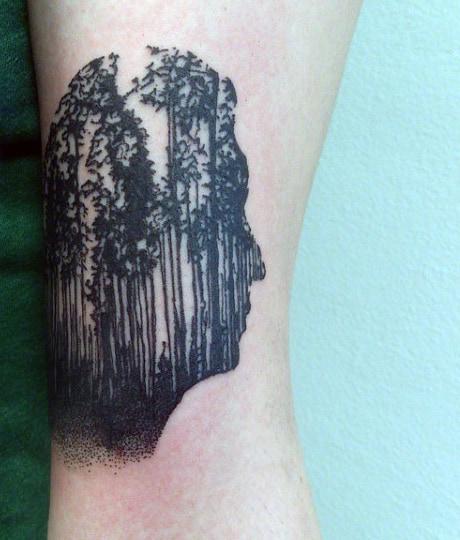 Small Simple Pine Tree Tattoos Men