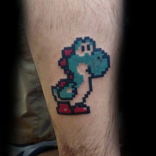 Small Simple Pixel 8 Bit Leg Yoshi Tattoo On Men