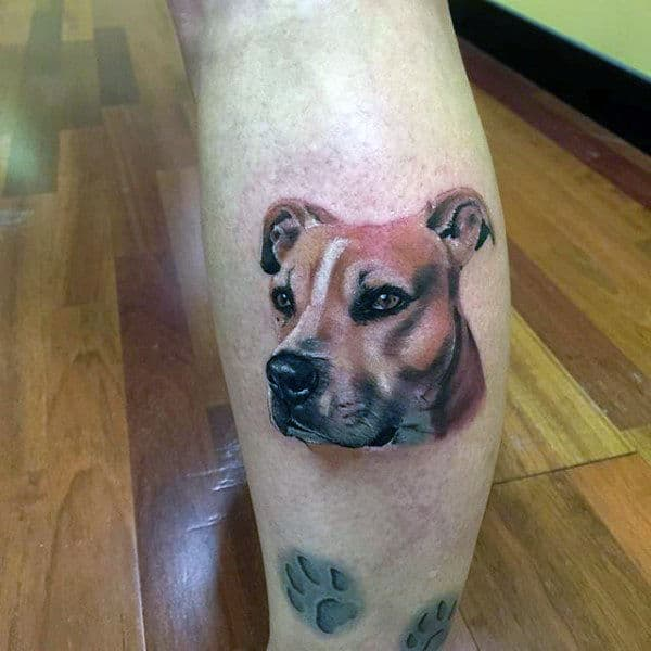Small Simple Realistic Mens Dog Tattoo With Paw Prints